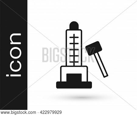 Black High Striker Attraction With Big Hammer Icon Isolated On White Background. Attraction For Meas
