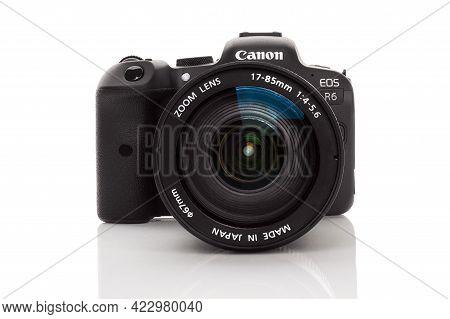 Bratislava, Slovakia - April 10, 2021: Canon Eos R6 Digital Mirrorless Full Frame Camera Isolated On