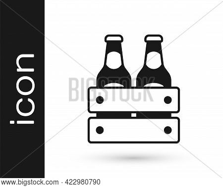 Black Pack Of Beer Bottles Icon Isolated On White Background. Wooden Box And Beer Bottles. Case Crat