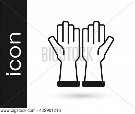 Black Rubber Gloves Icon Isolated On White Background. Latex Hand Protection Sign. Housework Cleanin