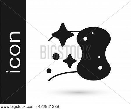 Black Sponge Icon Isolated On White Background. Wisp Of Bast For Washing Dishes. Cleaning Service Lo