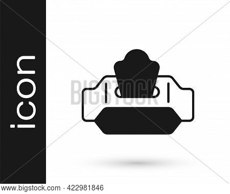 Black Wet Wipe Pack Icon Isolated On White Background. Vector