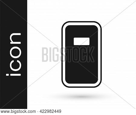 Black Police Assault Shield Icon Isolated On White Background. Vector
