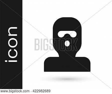 Black Thief Mask Icon Isolated On White Background. Bandit Mask, Criminal Man. Vector