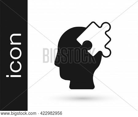 Black Solution To The Problem In Psychology Icon Isolated On White Background. Puzzle. Therapy For M