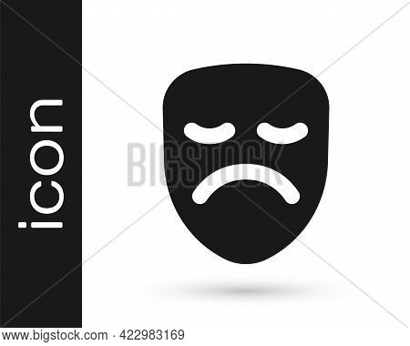 Black Drama Theatrical Mask Icon Isolated On White Background. Vector