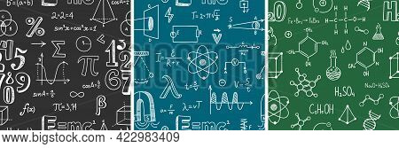 Seamless Pattern With School Subjects - Math, Physics, Chemistry. Blackboard Inscribed With Scientif