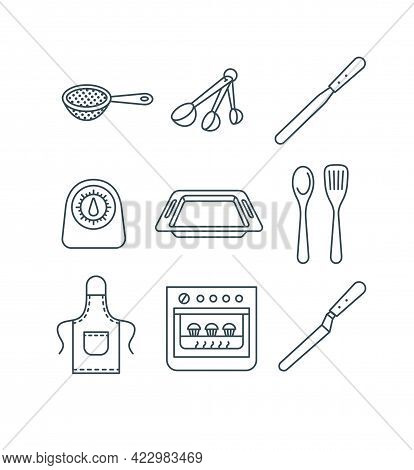 Home Baking Tools. Flat Vector Thin Line Icons. Essential Kitchen Equipment For Homemade Pastry Cook