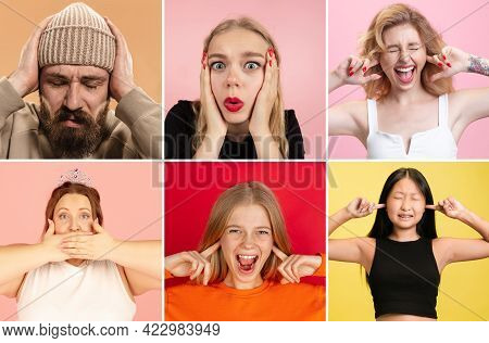 Collage Of Male And Female Looking With Wide Eyed Expression Being Horrified To Find Out Bad News