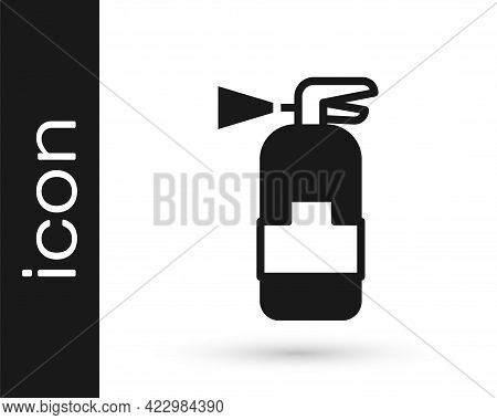 Black Fire Extinguisher Icon Isolated On White Background. Vector