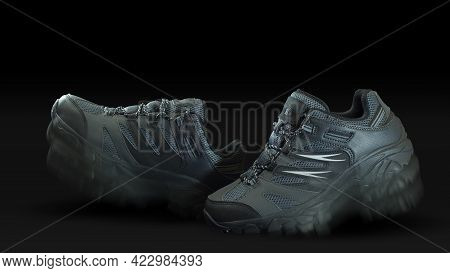 Closeup On A Pair Of Blue Gray Fabric And Leather Sports Shoes One In Front Of The Other With Walkin