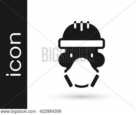Black Nuclear Power Plant Worker Wearing Protective Clothing Icon Isolated On White Background. Nucl