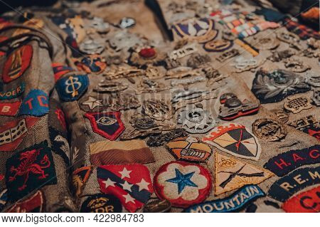 Brussels, Belgium - August 17, 2019: Close Up Of Uniform Insignia In The War, Occupation, Liberation