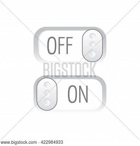 Flat Icon Colorful Switchers Onoff Isolated On White Background. Toggle Switch Icon, Blue In On Posi