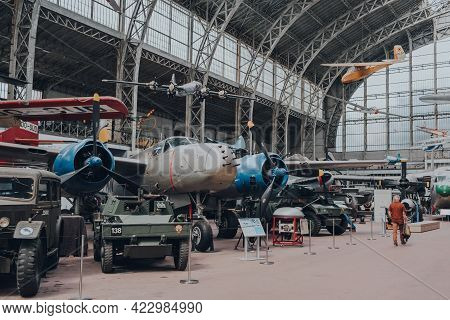 Brussels, Belgium - August 17, 2019: Row Of Aircrafts Inside Aviation Hall Of The Royal Museum Of Th