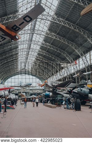 Brussels, Belgium - August 17, 2019: Military And Civil Aircrafts Inside Aviation Hall Of The Royal