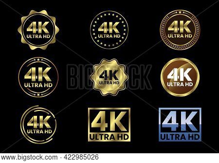 Golden 4k Ultra Hd Video Resolution Icon Logo, High Definition Tv, Game Screen Monitor Display Label