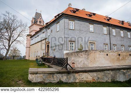 Gothic Castle Brandys Nad Labem, Renaissance Palace View From Garden, Clock Tower, Chateau Park, Sgr