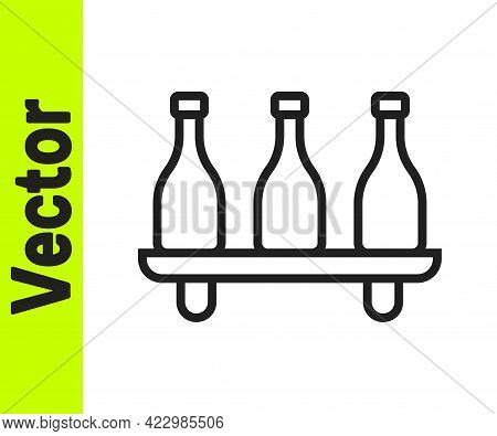 Black Line Bottle Of Wine Icon Isolated On White Background. Wine Varieties. Vector