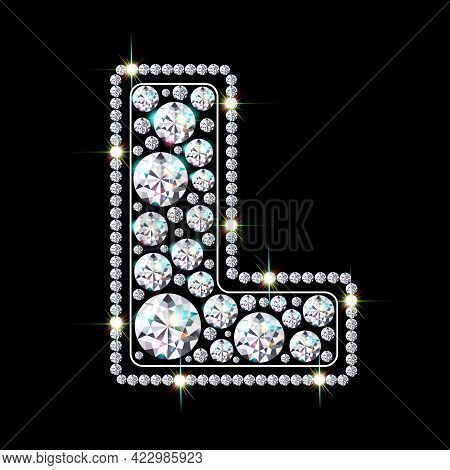 Letter L Made From Sparkling Diamonds Vector Eps 10