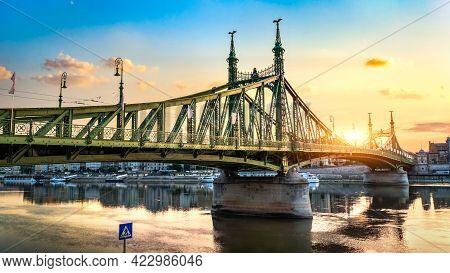 Liberty Bridge On Danube River At Sunrise, Hungary