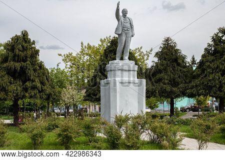 Ancient Soviet Monument Of The Last Century Leader Of Soviet Proletariat Lenin Says Speech On The Po