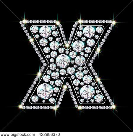 Letter X Made From Sparkling Diamonds Vector Eps 10