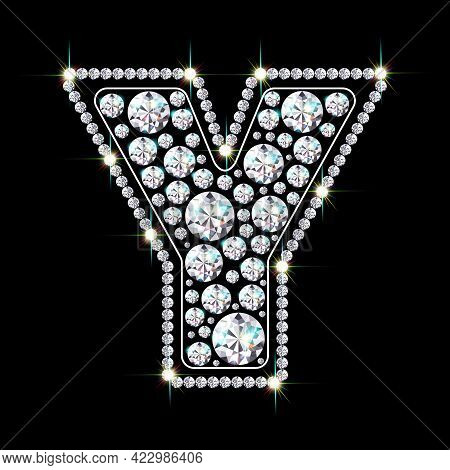 Letter Y Made From Sparkling Diamonds Vector Eps 10