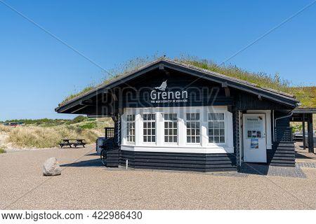 Skagen, Denmark - 4 June, 2021:tourist Information Building In Grenen At The Northern Tip Of Denmark