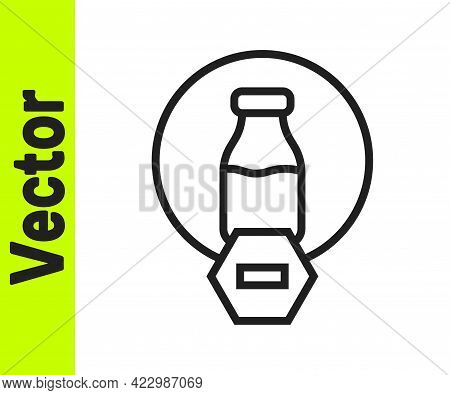Black Line Lactose Free Icon Isolated On White Background. Vector