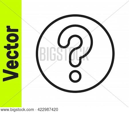 Black Line Unknown Search Icon Isolated On White Background. Magnifying Glass And Question Mark. Vec