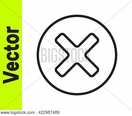 Black Line X Mark, Cross In Circle Icon Isolated On White Background. Check Cross Mark Icon. Vector