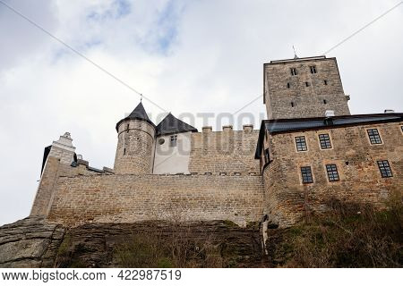 Medieval Gothic Castle Kost Or Bone With Tower In Spring Day, Ancient Fortresses On Hill, Fairytale