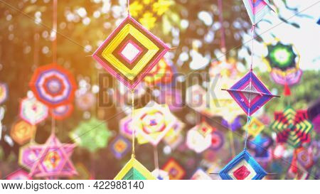 Cultural Colorful Festive Ornaments Hanging Handicraft Fabric Of Indochina Southeast Asian Highland