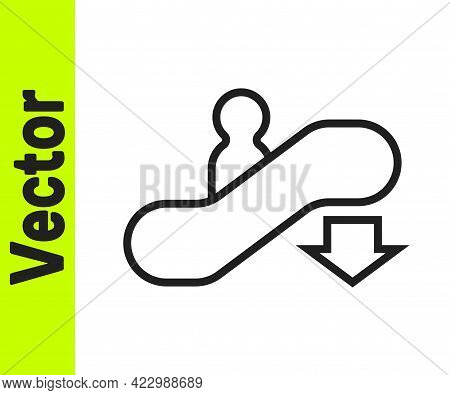 Black Line Escalator Down Icon Isolated On White Background. Vector
