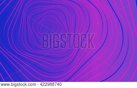 Abstract Geometric Banner. Swirling Purple Lines On Gradient Pink Background. Whirl Square, Wave Str