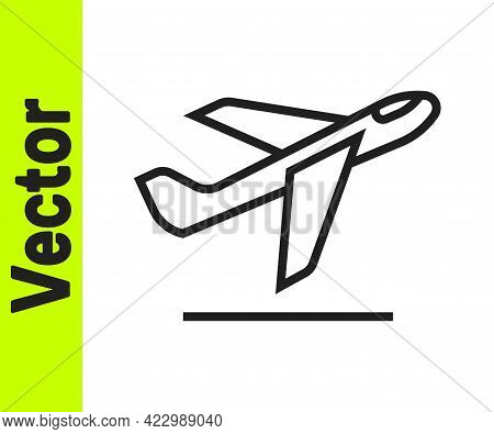 Black Line Plane Takeoff Icon Isolated On White Background. Airplane Transport Symbol. Vector
