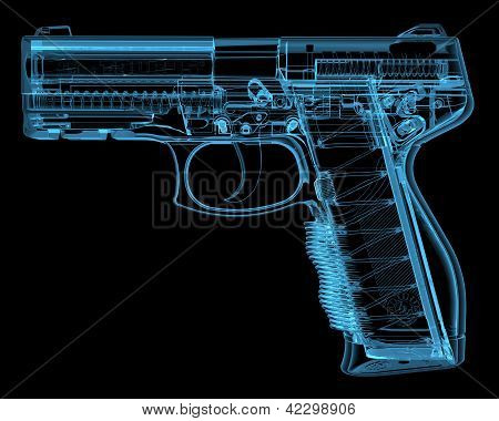 Pistol (3D Xray Blue Transparent)