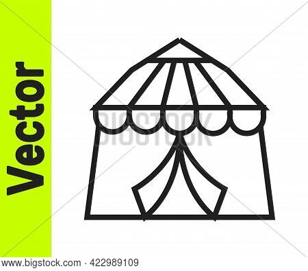 Black Line Circus Tent Icon Isolated On White Background. Carnival Camping Tent. Amusement Park. Vec