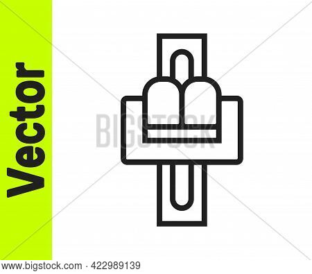 Black Line Attraction Carousel Icon Isolated On White Background. Amusement Park. Childrens Entertai