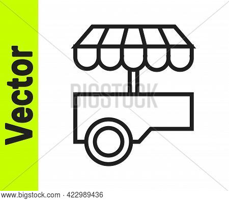 Black Line Fast Street Food Cart With Awning Icon Isolated On White Background. Urban Kiosk. Vector