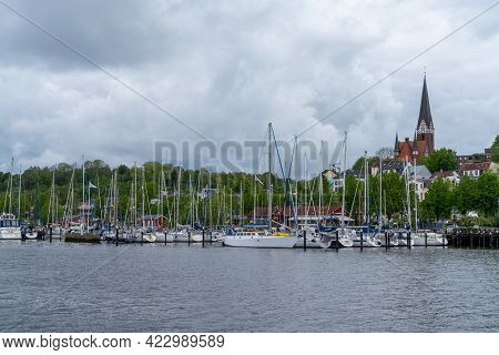 The Yacht Harbor And Marina In The German Town Of Flensburg