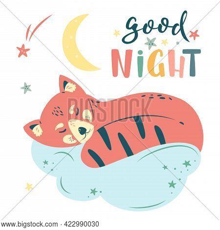 Nursery Vector Illustration In Cartoon Style. Good Night Lettering. Cute Red Panda Sleeps On Cloud,