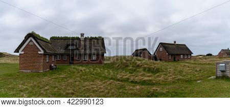 Sonderho, Denmark - 29 May, 2021: Traditional Danish Houses With Thatched Reed Roof In A Coastal San
