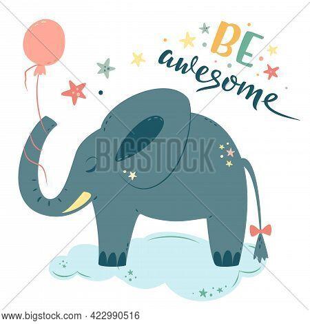 Nursery Vector Illustration In Cartoon Style. Cute Baby Elephant With Balloon Sleeps On Cloud. Be Aw