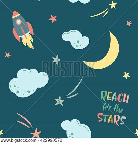 Sky Seamless Pattern With Stars, Clouds, Rocket, Moon And Hand Drawn Lettering On Dark Blue Backgrou