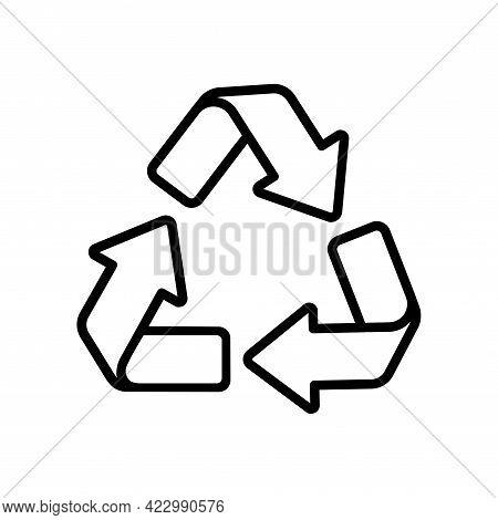 Recycle Editable Logo, Environment Vector Icon. Eco Reuse Symbol With Arrow. Stroke Illustration Iso