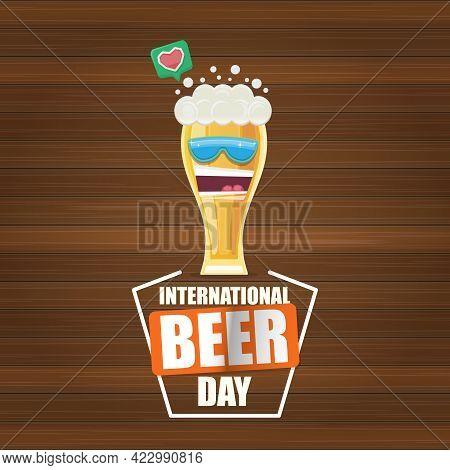 Happy International Beer Day Banner Or Poster With Cartoon Funny Beer Glass Friends Characters With