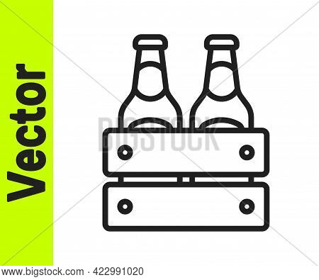 Black Line Pack Of Beer Bottles Icon Isolated On White Background. Wooden Box And Beer Bottles. Case