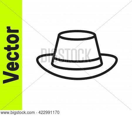 Black Line Oktoberfest Hat Icon Isolated On White Background. Hunter Hat With Feather. German Hat. V